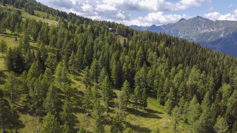 Luftaufnahme im Gebirge